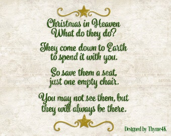 This is an image of Lively Christmas in Heaven Poem Printable