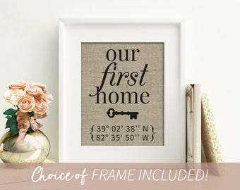 Framed Latitude Longitude Sign, Our First Home Sign with Key, Personalized House Warming Gift, New Home Gift, New Home Housewarming Gift