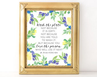Wash The Plate Print / Every Day Spirit / Inspirational Print / Kitchen Decor / Words Of Wisdom / Floral Typography / Mother Teresa