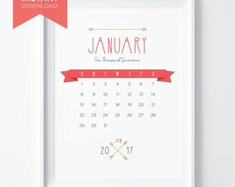 PRINTABLE 2017 Calendar; Instant Download PDF; 12-Month Desk Calendar; [vintage inspired] Pink & Navy