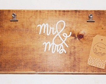 """Handmade Wooden """"Mr. & Mrs."""" Picture Display"""