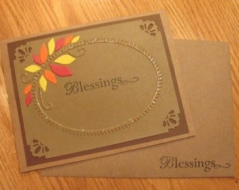 Thanksgiving Card, Blessings, Autumn Leaves, Red, Yellow, Orange, Embossed, Punched Corners, Kraft Paper, Handmade