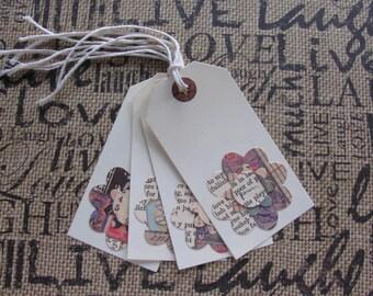 Gift Tag, Flower, Collage Print, Newsprint, Black, Cream, Red, Blue, Handmade, Creme Cardstock, Layered, Cotton Twine, Set of 4