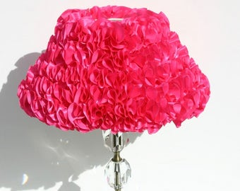 Lampshade, ruffle lampshade, children's lampshade , table lamp, pink lampshade, shabby chic lampshade, barbie pink lampshade, side lamp.