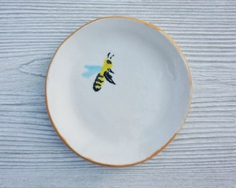 Hand crafted porcelain bee dish