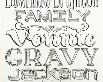 Personalised Hand Drawn Family Names Design