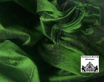 SHAMROCK GREEN SILK fabric, by the yard, dupioni silk, upholstery, fashion, interior decor, luxury fabric, emerald, parakeet, kelly green