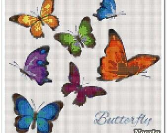 Butterfly Cross Stitch Pattern, Butterfly x stitch pattern, Cross stitch Embroidery, Embroidery pattern