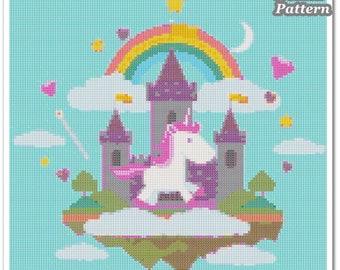 Unicorn Cross Stitch Pattern, Unicorn x stitch pattern, Cross stitch Embroidery, Embroidery pattern
