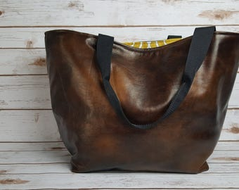 Handmade dark brown and gold over sized lightweight tote bag
