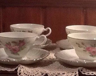 Vintage, Japan, 6 tea / coffee cups with 6 saucers, fine china, pink maroon roses, scalloped edge, gold trim