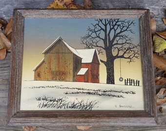Winter Barn Scene Signed H. Hargrove, Oil on Canvas