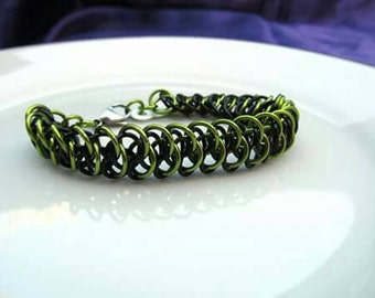 Lime Green & Black Arkham Bracelet with Stainless Steel Clasp