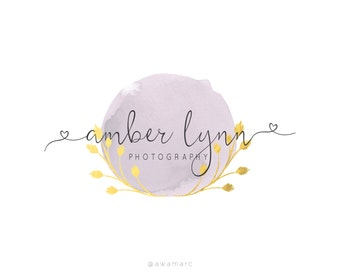 Logo Design, Custom Logo Design, Photography Logo, Premade Logo, Calligraphy Logo, Gold Wreath Photography Logo, Wreath Logo, Gold Laurel