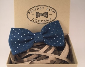 Handmade Spotted Bowtie in Denim Blue - Adult & Boys sizes available