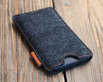 iPhone 5 sleeve Felt iPhone pouch iPhone SE case Black sleeve Soft iPhone case
