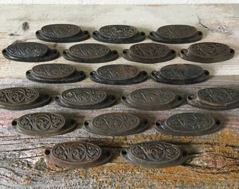 Antique Iron Drawer Pulls, Cast Iron Knobs, Architectural Salvage, 1876 (lot of 19)