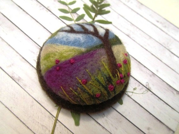Needle felted brooch Tree jewelry Textile brooch Felt art Birthday gift idea for sister Christmas gift Unique gift Textile art  Women gift