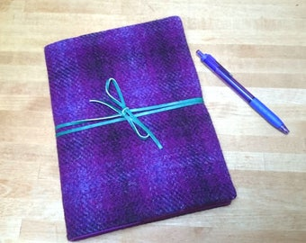 Harris Tweed Boswell Bujo Notebook Cover - A5 size - Rich Purple Check Tartan Leather Wrap Tie - Handmade writing journal wedding guest book
