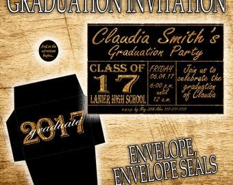 Graduation Party, Graduation Invitation, Graduation Birthday Invitation, Printable Invitation, Graduation Decorations