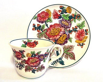 Vintage Wedgwood Etruria Cup Saucer Demitasse Antique China Teacup England Hand Painted