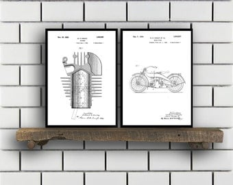Harley Davidson Patent Posters Group of 2, Harley Davidson Prints, Vintage Motorcycle, Motorcycle Parts, Motorcycle Harley Patent, SP287