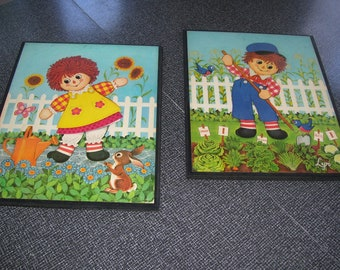 Raggedy Ann Andy Wall Hangings Children's Room Wall Art 1970s Set of 2 Vintage