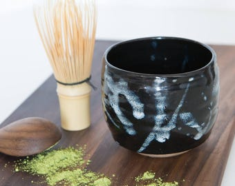 One Off Limited Edition: Stoneware Chawan / Teabowl in Black with White