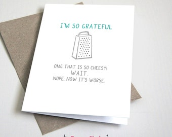 I'm so grateful thank you CARD / Funny / Teal and Grey / 5x7 Folded Card – Printable DIY, Instant Download