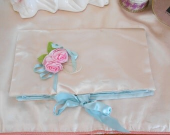 Lovely Pale Blue and White Satin/Rosettes Jewelry Bag