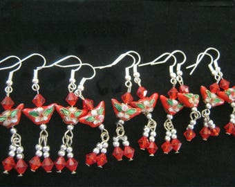 1 x Pair of Stunning Cloisonne Red BUTTERFLY Earrings, Bagged and Brand New Lovely Treat or Gift