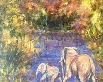 Original African Wildlife painting of an Elephant and Calf