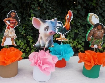 Inspired Disney Moana Birthday Party Table Centerpiece Round Base Great for Guest Tables Candy Buffet Food Court Table Maui Pua Heihei