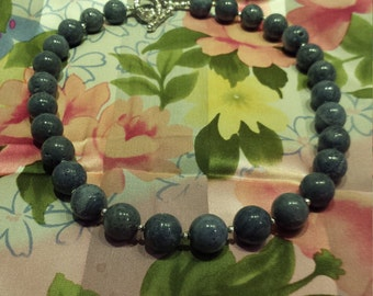 Natural Blue Coral necklace one strand large beaded necklace