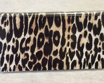 Cheetah print with black velvet - Vinyl Checkbook cover,Scrapbook style,Duplicate or Single Checks, No wait Ready to Ship