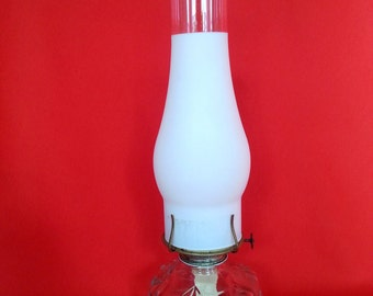 Vintage Clear Glass Base Eagle Table Oil Lamp with Hurricane Frosted Chimney P&A Risdon Eagle Burner -Made in USA