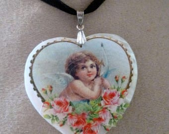 Necklace heart mother-of-Pearl heart of an Angel