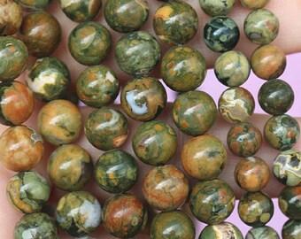Birdseye Rhyolite, Smooth Round Beads 6mm 8mm 10mm 12mm, 15 Inch Full Strand