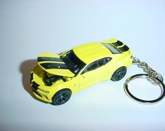 3D Chevrolet Camaro SS custom keychain by Brian Thornton keyring key chain finished in yellow color trim metal body bumble bee