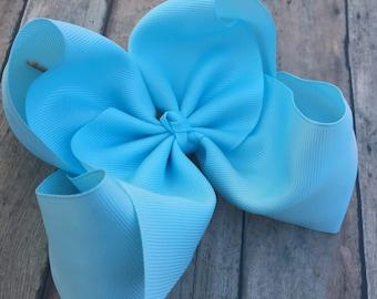 Big Blue Hair Bow - 6in Hair Bow - Light Blue Bow - Basic Hair Bow - Boutique Hair Bow - Solid Color Hair Bow - Simple Hair Bow - Hair bow