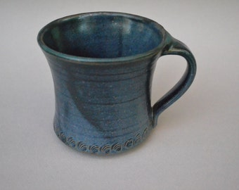 Pottery Wheel Thrown Stoneware Cup Reduction Fired with Satin Glaze of Multi Blue Hues
