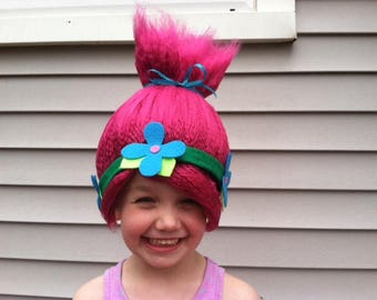 Pink troll wig, Girls Halloween wig, Troll costume wig, Kids costume, Childrens costume, Yarn wig, Troll Hair, Costume hair, Toddler costume