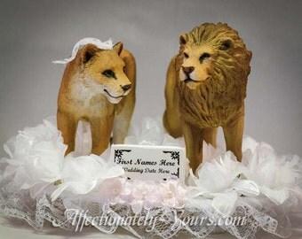 Customized Lion Bride | Lion Groom |  Lion Wedding Cake Topper | Lion Anniversary Cake Topper
