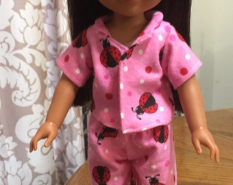 "Doll pj doll pajamas lady bug pajamas 14 1/2"" doll pajamas sleepwear to fit dolls such as wellie wishers"