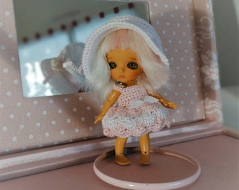 dress and hat for doll bjd 9-11cm type Lati White