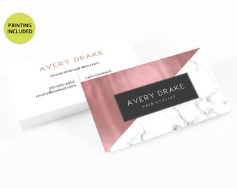 Rose Gold & Marble Printed Business Cards - business cards,business card design,custom business card,cards,printing,hair,makeup,stylist,gold