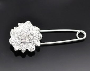10 Silver Plated Flower Safety Pins Brooches 5.7x2.4cm