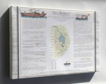 Canvas 24x36; 1846 Broadside Of The Collect Pond, New York And Steam Boat ( Five Points )