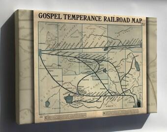Canvas 24x36; Gospel Temperance Railroad Map 1908