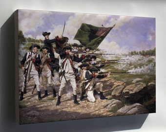 Canvas 24x36; Delaware Regiment At The Battle Of Long Island